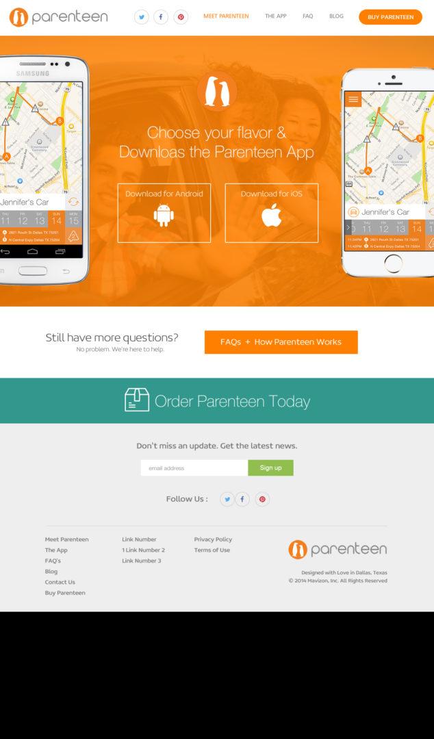 Parenteen Mobile App Download Website Design